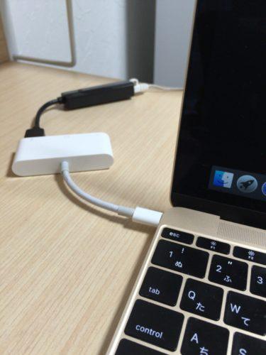 Macbook12のUSB-CからUSB高速LANケーブルを繋げた結果